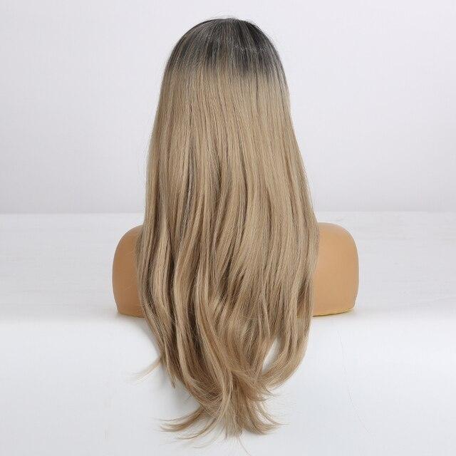 LOUIS FERRE Long Straight Side Part Synthetic Hair Wigs Ombre Black Light Brown Wigs for Black Women Afro Heat Resistant Fiber