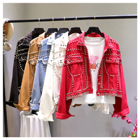 2019 Autumn Women Harajuku Red Denim Jacket Coat Heavy Hand Beaded Rivet Short Black Jeans Jacket Student Basic Coats Outfit