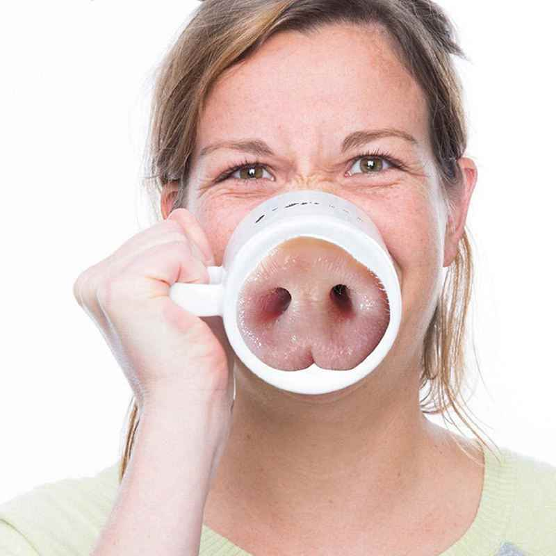 Divertido perro cerdo nariz taza creativa cerámica marca bebida risa té café tazas cerdo nariz