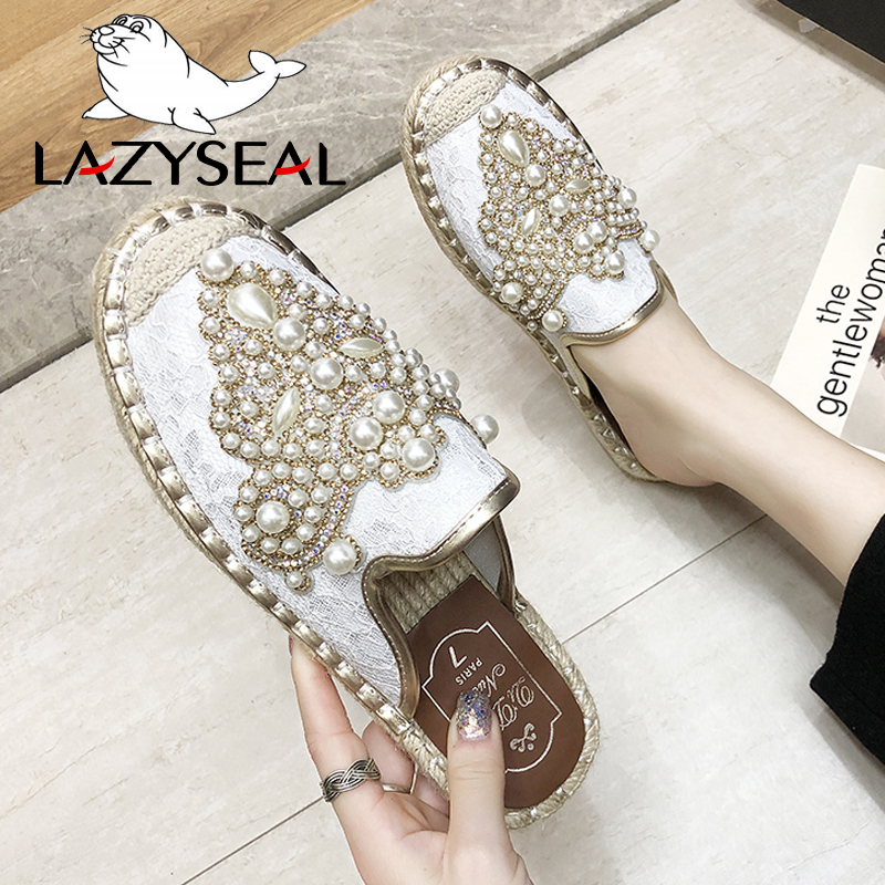 LazySeal New String Bead Half Slippers Spring Slides Women Shoes Pearl Hemp Flat Heel Shoes Women Cotton Fabric Lace Mules Shoes