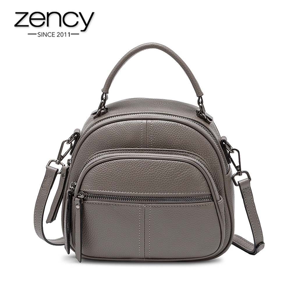 Zency Women's Backpack Made Of Genuine Leather Daily Casual Travel Bag Large Capacity Knapsack Classic Black Schoolbag Grey