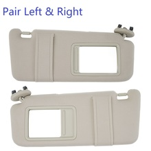 NICECNC Beige Sun Visor Right Left Side Tan for Toyota Camry 2007-2011 WithOut Sunroof Top quality PP plastic shell Fabric