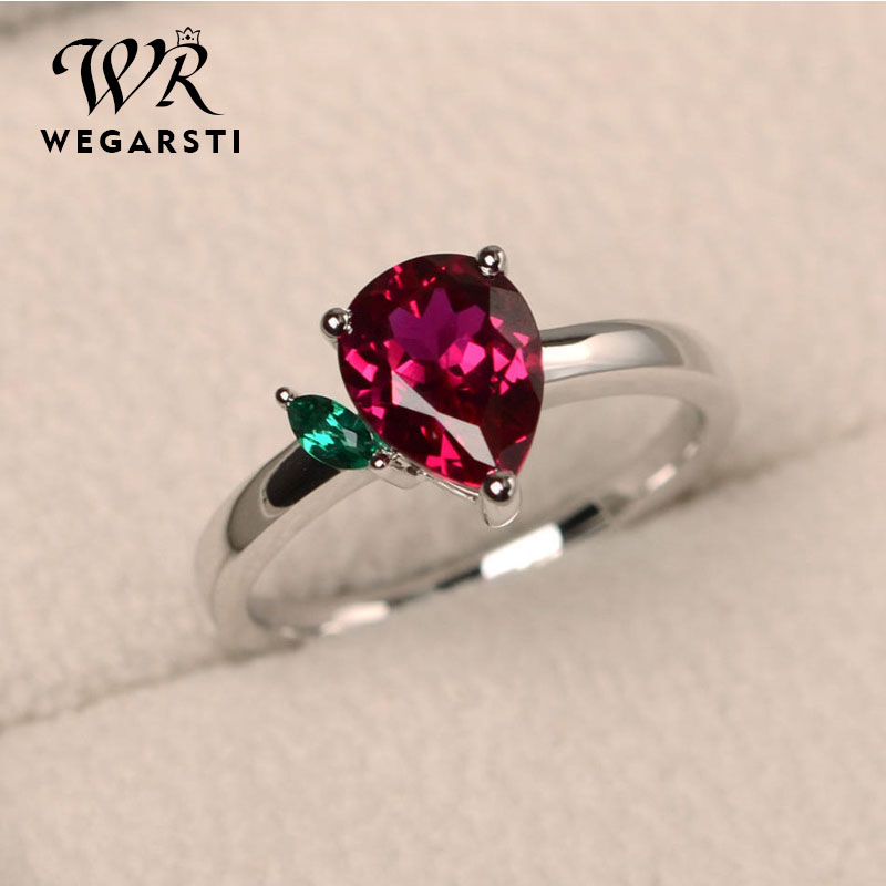 WEGARSTI 10 Colors 925 Silver Jewelry Zircon Stone Woman Colourful Precious Water Drop Shaped Seven Rainbow Ring Birthday Gift