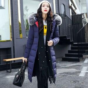 Image 3 - Com capuz ambos os lados usam casacos longos feminino 2020 casual grosso com pele de algodão acolchoado parkas inverno outwear oversize jaqueta feminina