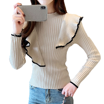 Winter Clothes Women Woman Sweaters 2020 New Korean Round Neck Asymmetric Wave Edge Sweater Women's Long Sleeve Sweater Green asymmetric long sleeve top