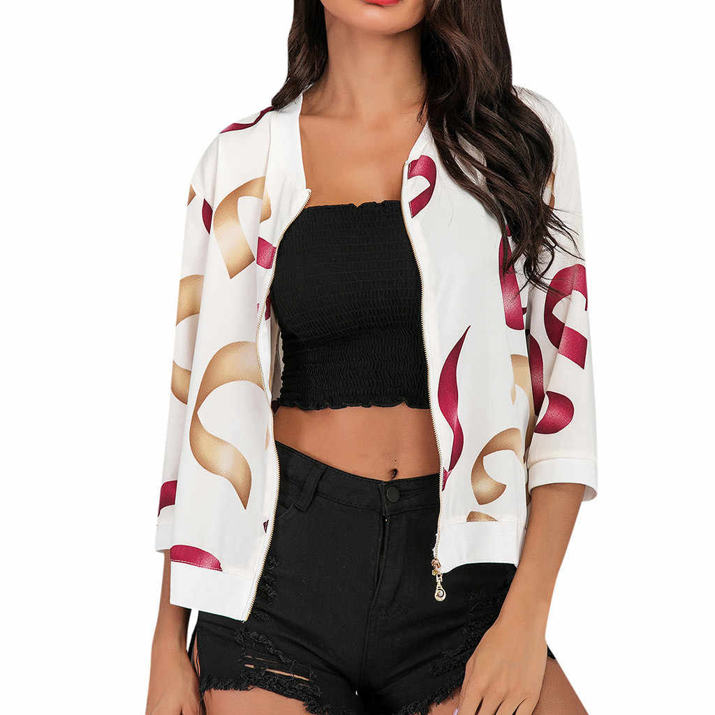 Куртка-бомбер осенние цветочные женские тонкие пальто Женская мода Boho печати Блузка бейсбольная верхняя одежда куртки пальто на молнии