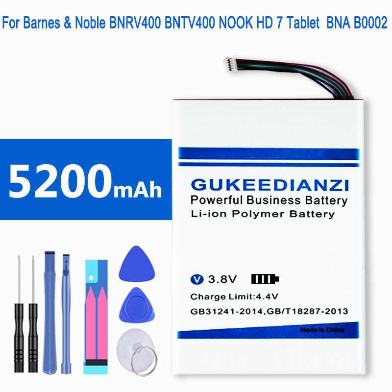 GUKEEDIANZI 100% Nieuwe BNA-B0002 5200mAh Batterij Voor Barnes & Noble BNRV400 BNTV400 NOOK HD 7 Tabletten Vervanging Batterijen