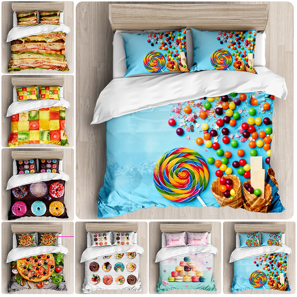 Donuts Duvet Cover Set Pink Chocolate Lemon Blue Mint Donuts Bedding Kids Boys Girls Food Quilt Cover Queen Bed Set Dropship