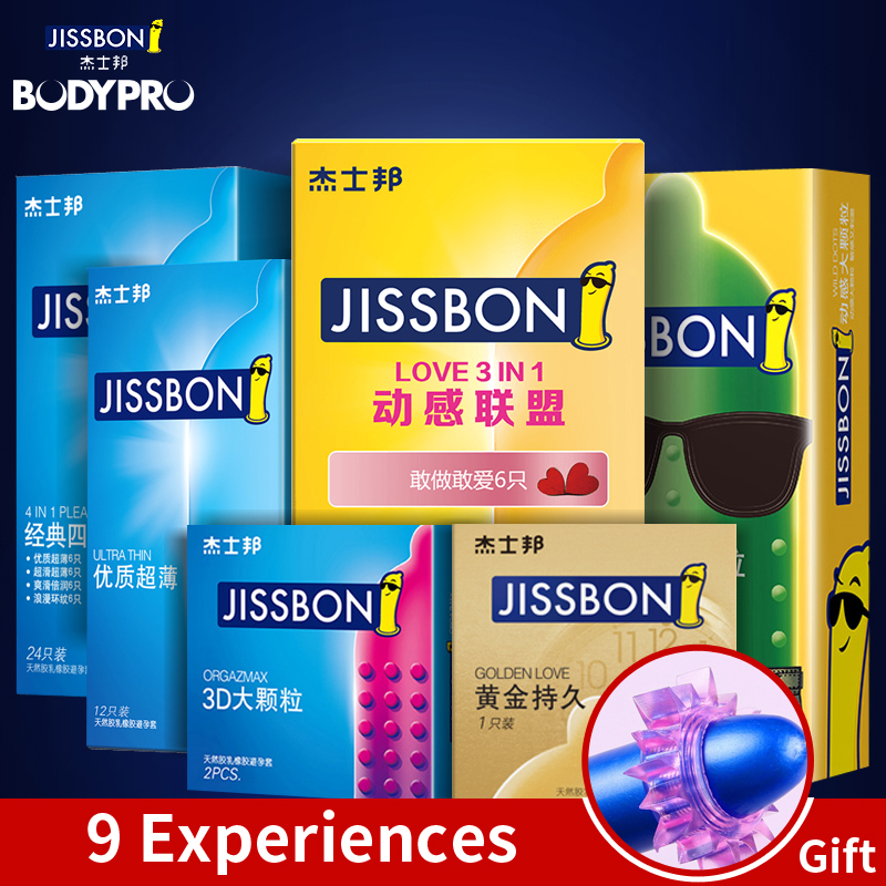 JISSBON LOVE 3 IN 1 Wild Dots Condoms for man Lubricated <font><b>Natural</b></font> Latex Penis Sleeve Premium Condoms image