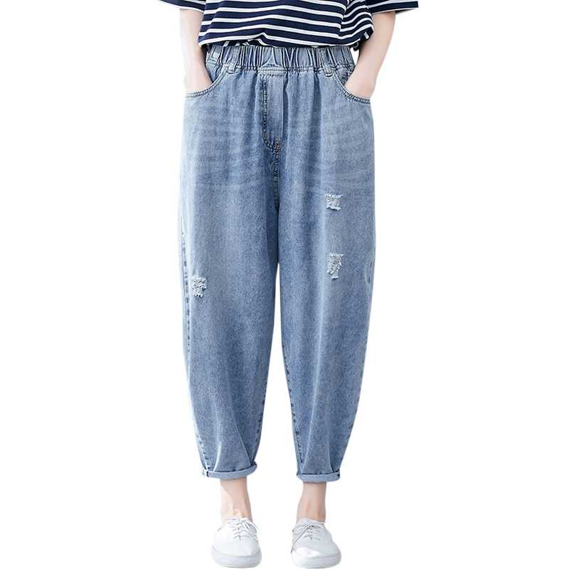 2019 nuevos vaqueros de mezclilla para mujer elásticos de cintura alta bolsillos de gran tamaño sueltos pantalones casuales primavera otoño pantalones de Haren longitud al tobillo
