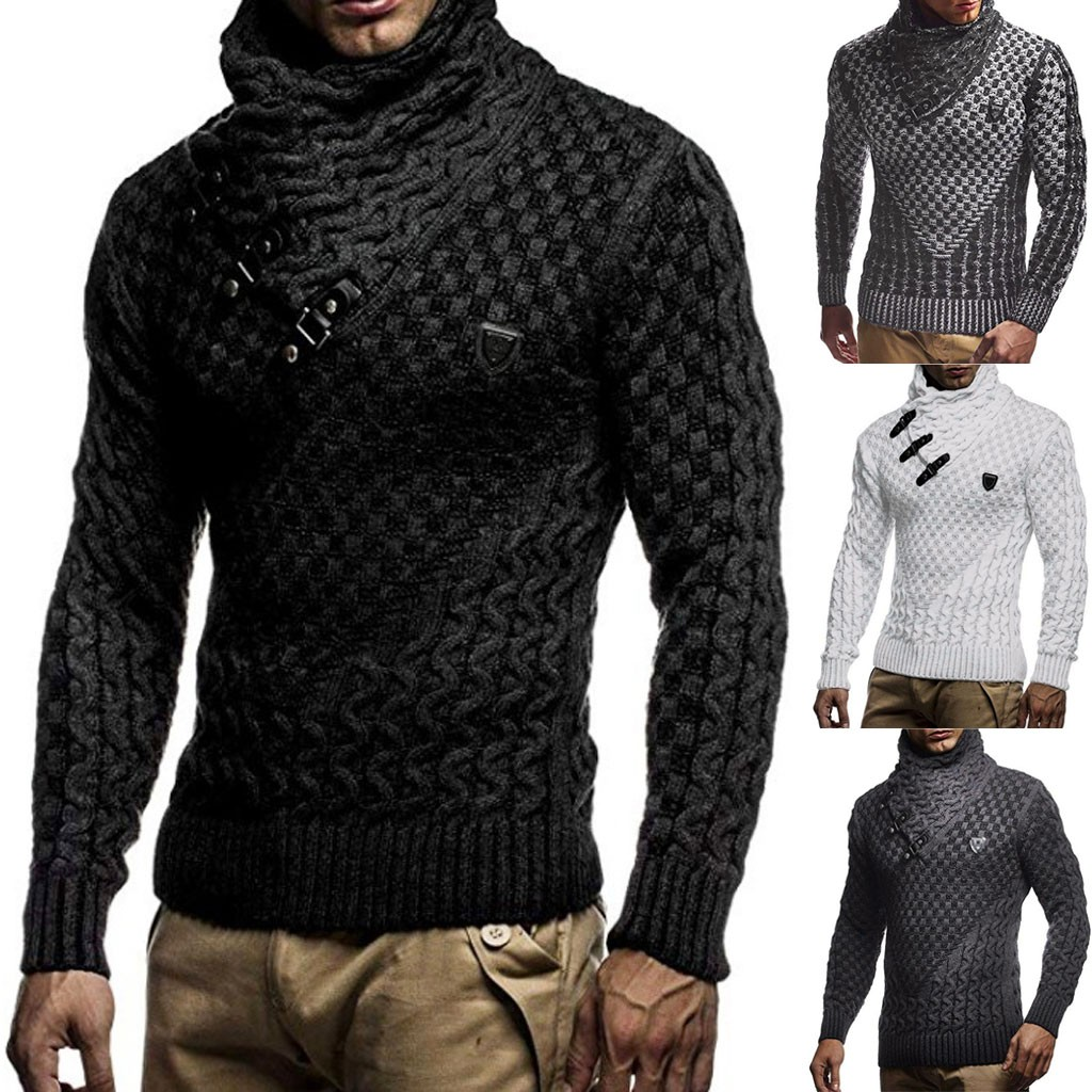 Mens Splicing Long Slim High Collar Pullover Sweater Knitted Jumper Tops Sweater Autumn Winter Dropshipping Size Leisure Work Cl