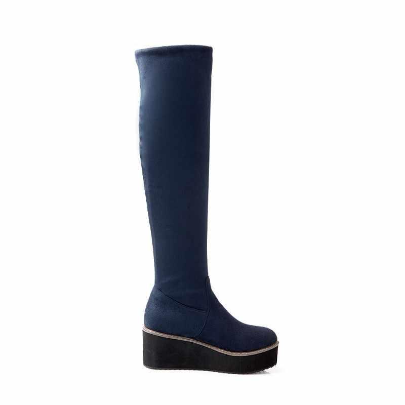 Bayan platformu sıkı Faux süet diz çizmeler üzerinde Slim Fit zarif Lady ayakkabı Botas Feminina yuvarlak ayak kayma ayakkabı