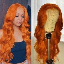 Ondulado Peluca de encaje naranja jengibre pelucas de cabello humano Pre arrancó cabello Remy 13x1 T malla con división pelucas 180% naranja jengibre pelo de la onda del cuerpo de la peluca