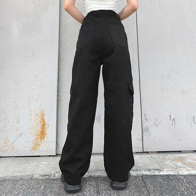 Фото брюки карго женские в корейском стиле свободные джинсы бойфренды
