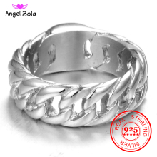 цены Hot Sale Finger Art Retro S925 Sterling Silver Buddha Ring Punk Biker Jewelry Wide Chain Ring Drop Shipping