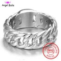Offre spéciale doigt Art rétro S925 en argent Sterling bouddha anneau Punk Biker bijoux large chaîne anneau livraison directe
