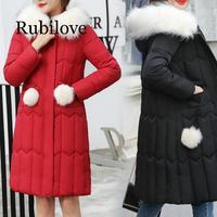 Rubilove High Quality long Women parkas 2019 Plus Size 5XL Winter hooded big fur collar jacket coats Warm Fashion parkas Zipper