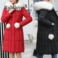 Rubilove High Quality long Women parkas 2019 Plus Size 5XL Winter hooded big fur collar jacket coats Warm Fashion Zipper