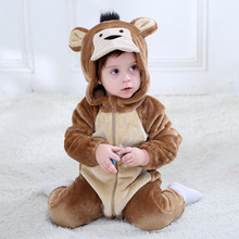 Animal Monkey Kigurumis Baby Winter Wear Festival Costume 1 3 Years Children Kid Cosplay Suit Funny Animal Onepiece Fantasia