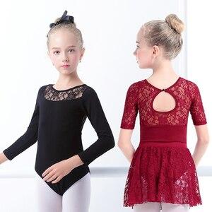 Image 3 - בנות בלט שמלת התעמלות בגדי גוף תחרה עקף בגדי גוף ארוך שרוול ילדים פעוט התעמלות בגד ים לריקודים