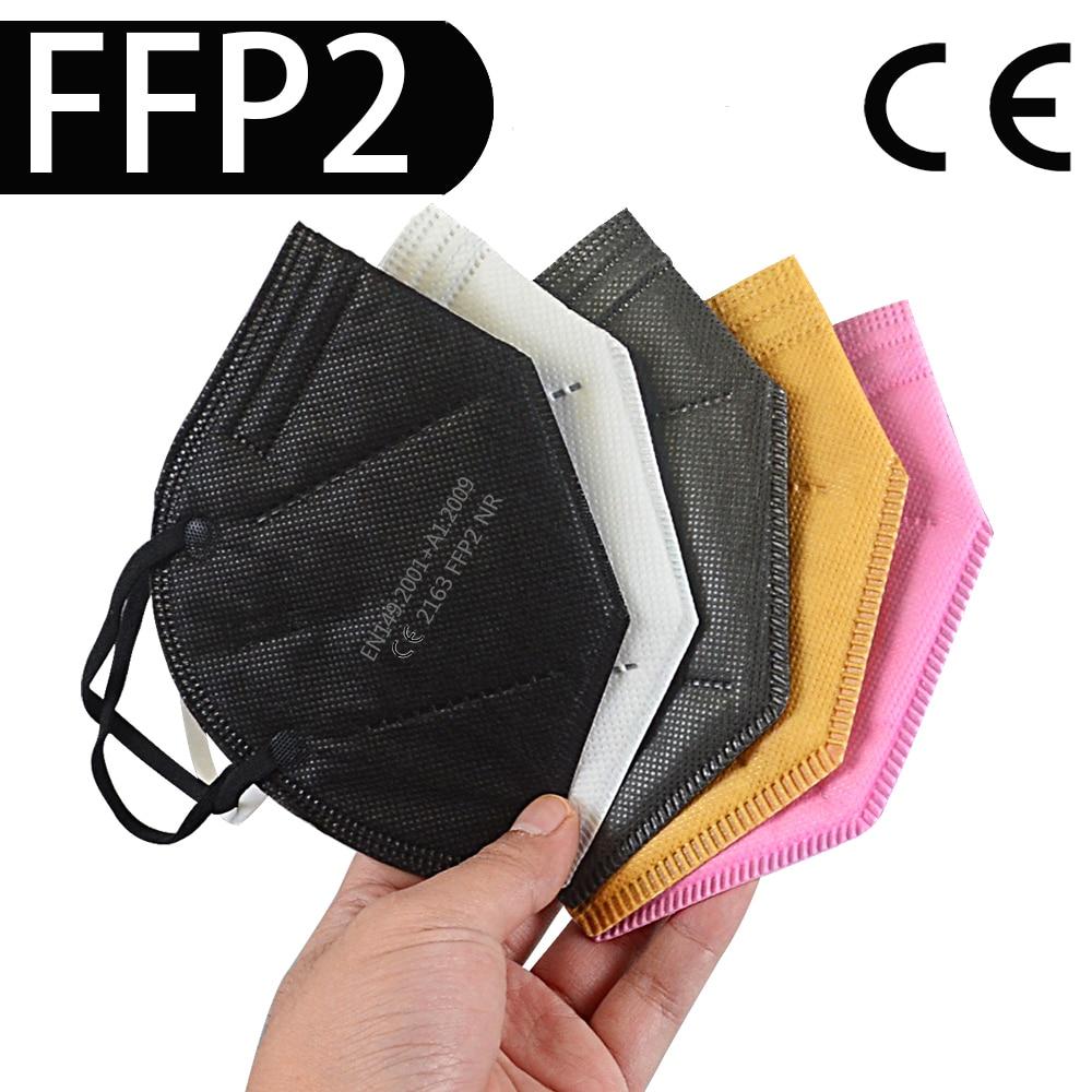 Masque de Protection ffp2, 6 couches, filtre KN95 98%, noir et gris