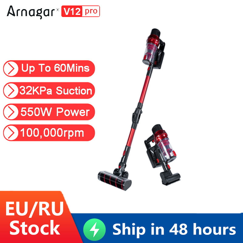 New Arnagar V12 Pro Handheld Wireless Vacuum Cleaner 550W 32000Pa Strong Suction Powerful Cyclone Filter Dust Collector For Home