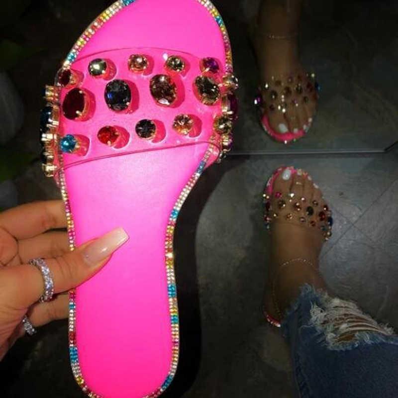 Yaz Platform sandaletler kadınlar Bling takozlar ayakkabı kadınlar üzerinde kayma düz el yapımı Rhinestones slaytlar rahat ayakkabılar Sandalias Mujer