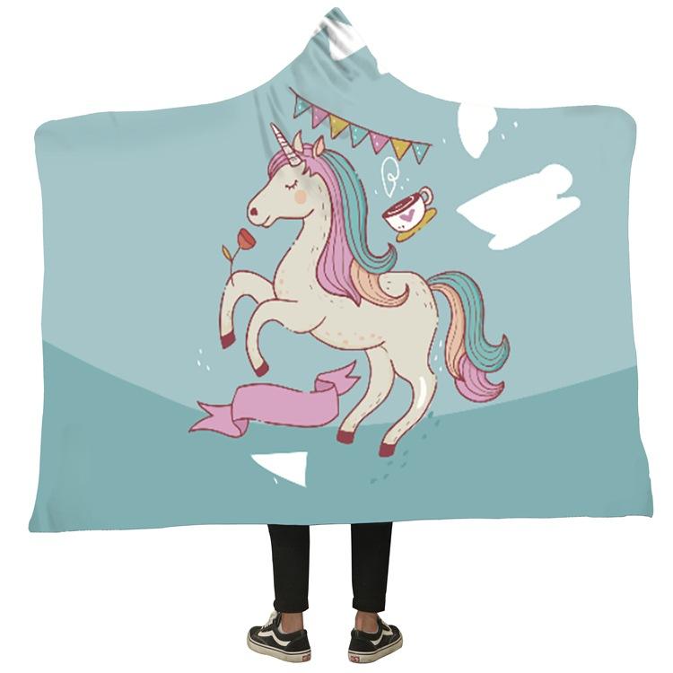Winter Blanket Sweatshirt Unicorn Cartoon 3D Printed Plush Hooded Blanket for Adults Kid Warm Wearable Fleece Throw Blankets 14