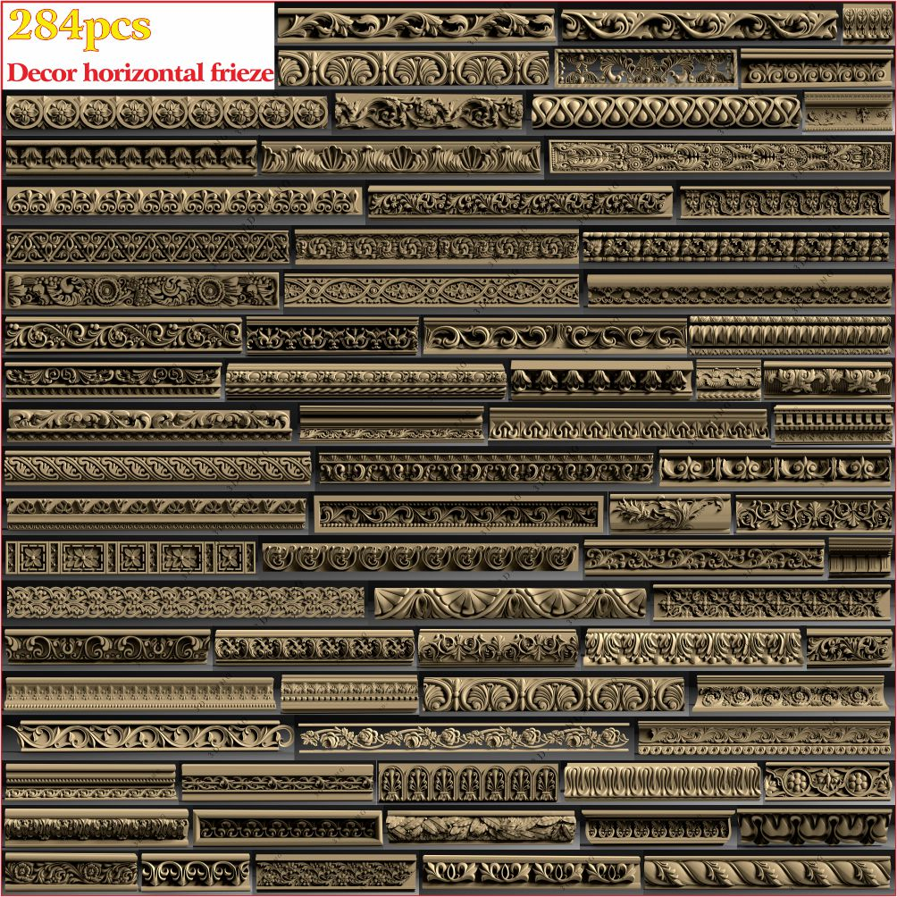 284pcs 3D STL Model Decor Horizontal Frieze For CNC 4 AXLE Engraver Carvingbed Relief For CNC Router Aspire Artcam