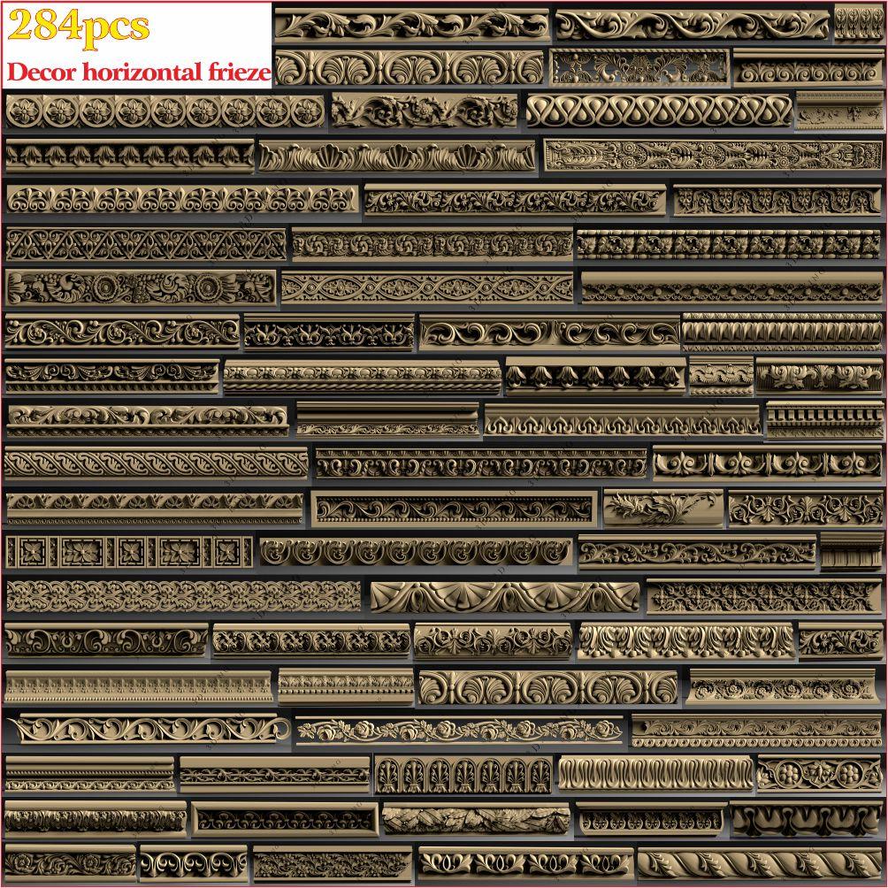 284pcs 3D STL Model Decor Horizontal Frieze For CNC 4 AXLE Engraver Carvingbed Relief For CNC Router Aspire Artcam