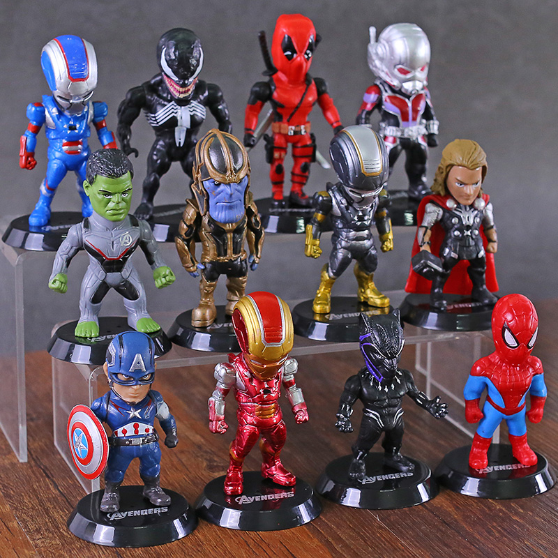 Marvel Avengers Iron Man Spiderman Thor Hulk Thanos Ant Man Deadpool Venom Figures Toys Car Decoration Dolls 12pcs/set