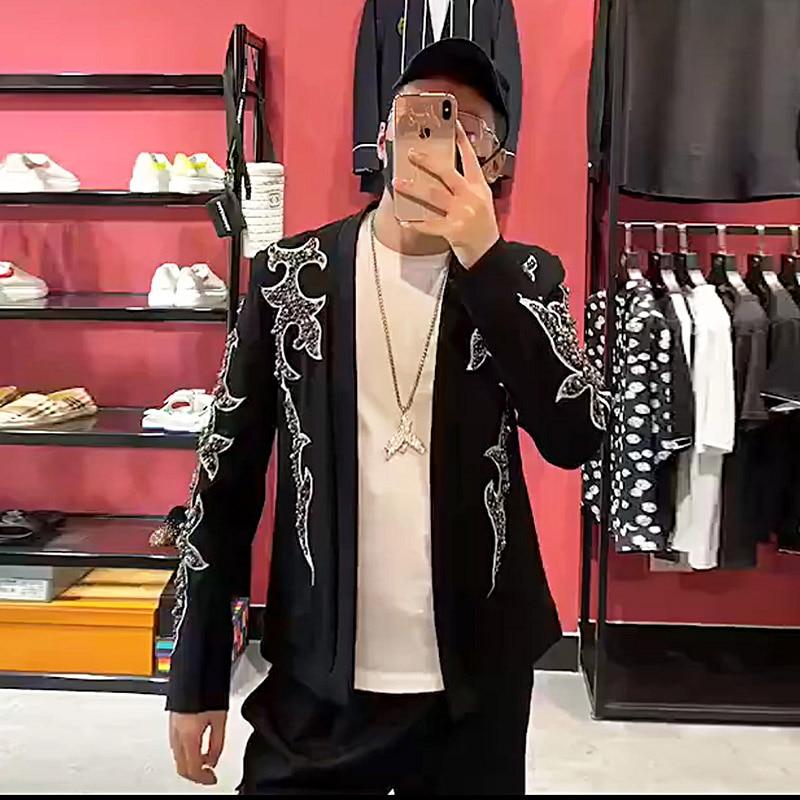 Men Desginer Embroidery Gems Beading Wedding Party Suit Jacket Runway Fashion Nightclub Singer Performance Costumes Black Coat