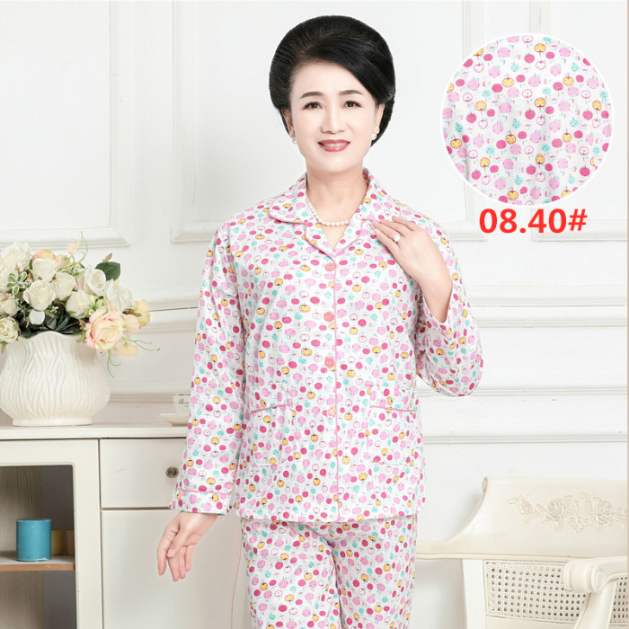 Spring And Autumn New Style Middle-aged Pajamas Cardigan Small Floral Mom Pajamas Long Sleeve Trousers Set