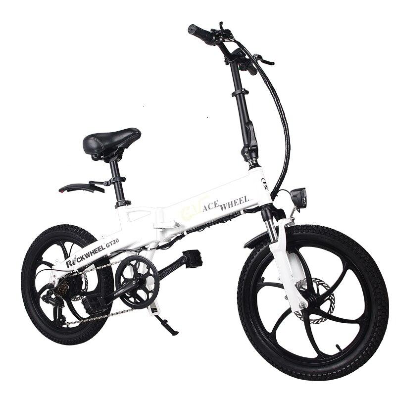 В европейском и американском стиле России 20 ''Электрический складной велосипед 48V двигатель 7 Скорость шестерни для е-байка передние и задние дисковые тормоза магниевого сплава колеса - Цвет: white