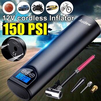 Audew 12V 150PSI USB Cordless Tragbare Luft Kompressor LCD Handheld Aufblasbare pumpe für Auto Fahrräder Reifen Bälle Schwimmen Ringe