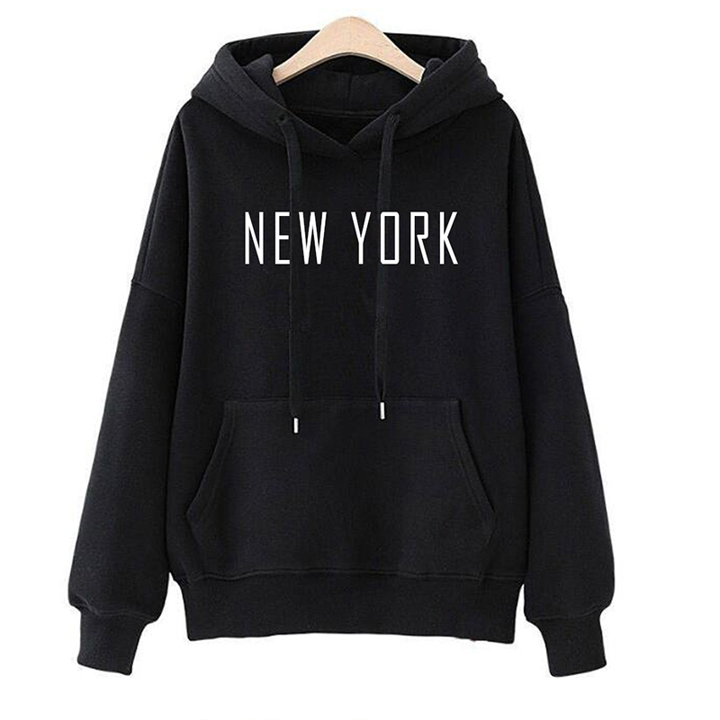 New York Letters Printed Hoodies Women Men Fashion Casual Sweatshirts Female Homme Funny Hipster Black White Pink Pullovers Tops
