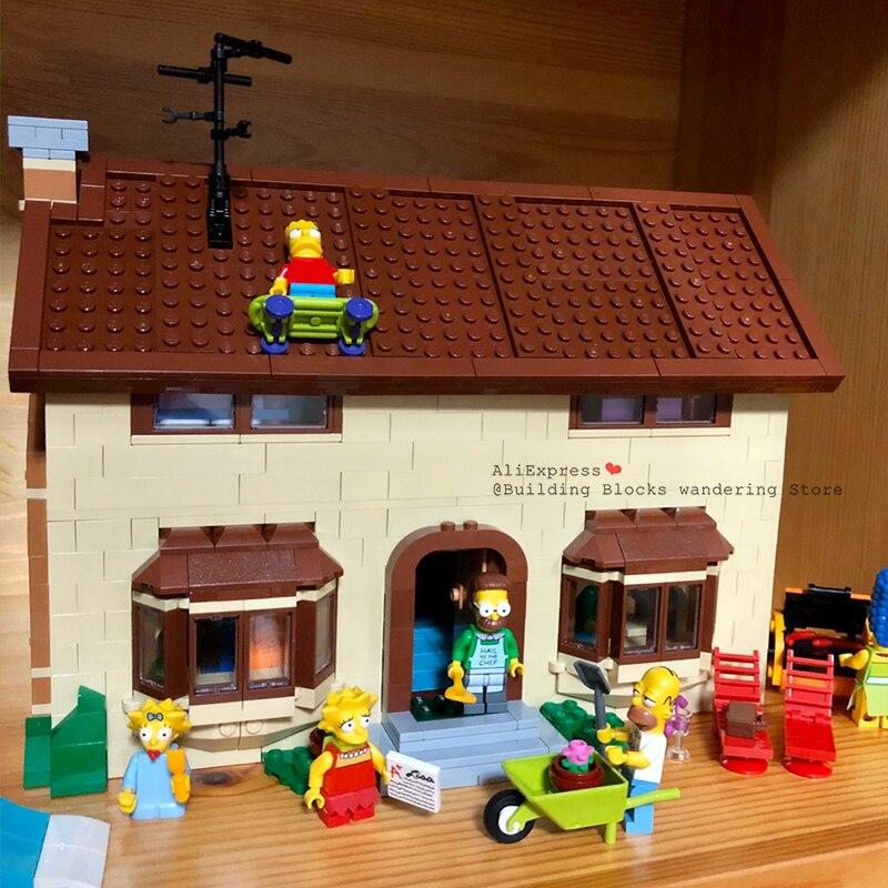 Block16005 Cartoon Movie Classic Character Kwik-E-Mart Simpsons House Villa Garden Model Building Block Bricks Model Toys