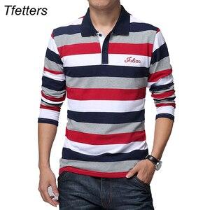 Image 1 - TFETTERS jesień męska koszulka w paski wzór nadruk liter z długim rękawem T shirt skręcić w dół kołnierz koszula T shirt duży rozmiar M   5XL