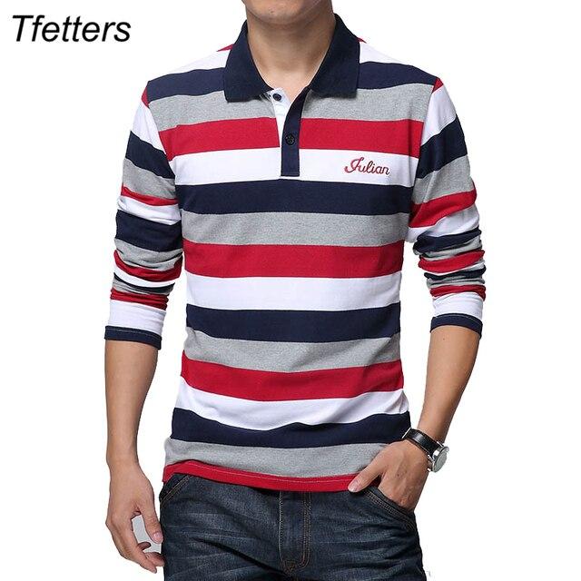 TFETTERS jesień męska koszulka w paski wzór nadruk liter z długim rękawem T shirt skręcić w dół kołnierz koszula T shirt duży rozmiar M   5XL