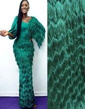 2020 Mới Nhất Pháp Nigeria Dây Vải Vải Tuyn Cao Cấp Phi Dây Vải Cho CướI Ren Vải 2 Thước SW002A Xanh