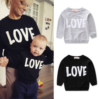 Fashion family matching mom son autumn and winter sweater cute LOVE letter printing parent-child top
