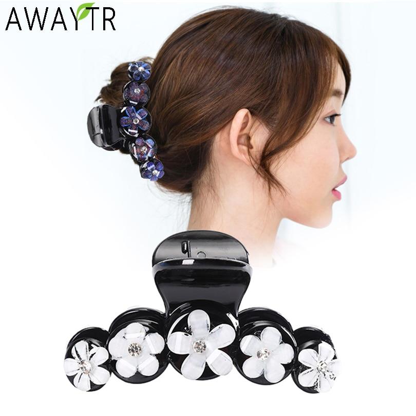 AWAYTR Fashion Hair Claws Flower Crab Hair Clips Women Girls Hairgrip Trendy Clip Barrettes Headdress Hair Accessories Heandband