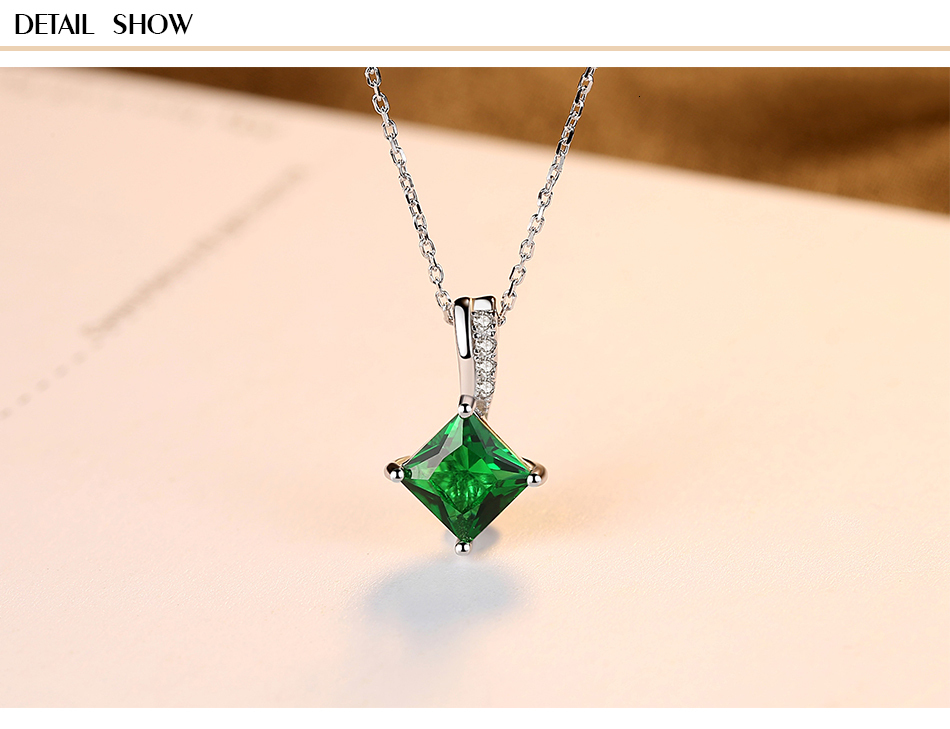 Hdf69a415b70d4e0cb761292cbc94dd252 CZCITY Charm Chain Necklace Emerald Green Cubic Zirconia Popular Jewelry 925 Sterling Silver Pendant Necklace for Women Gift