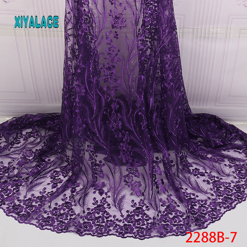 African Lace Fabric Nigerian Beads Lace Fabric 2019 Embroidered Net Laces Fabric Bridal High Quality French Tulle YA2288B-7