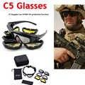Óculos de proteção do exército tático 4 lente dos homens militar daisy c5 óculos de sol airsoft tiro ciclismo motocicleta à prova vento
