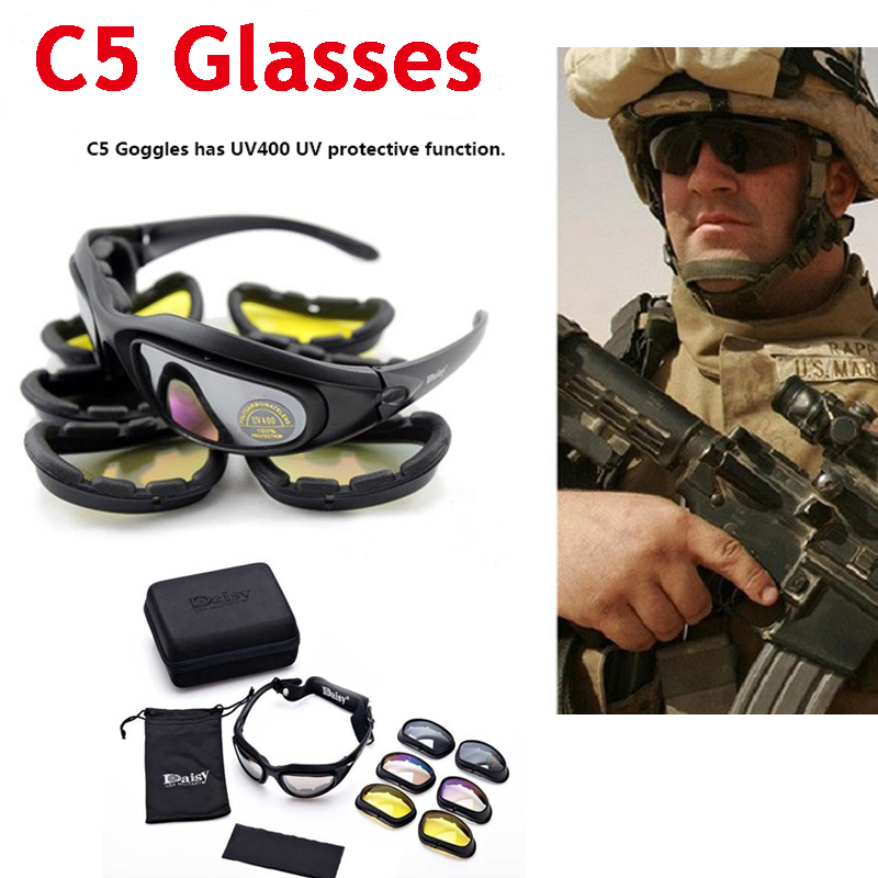 Tactical Army Goggles 4 Lens Men Military Daisy C5 Sunglasses Airsoft Shooting Glasses Cycling Motorcycle Windproof Glasses