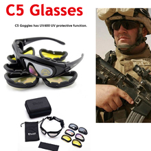 Tactical Army Goggles 4 Lens Men Military Daisy C5 Sunglasses