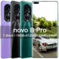 Newest Novo 8 Pro Smartphone Android 8GB RAM 256GB ROM 6800mAh Deca Core CPU Mobile Phone 7.3