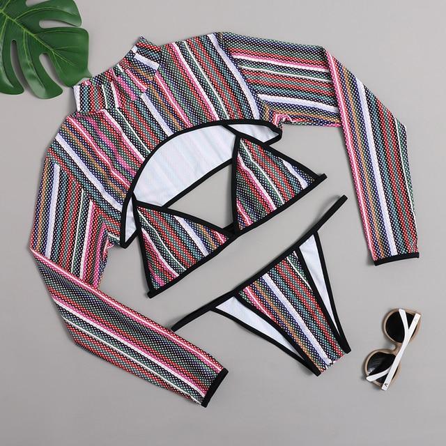Sexy Bikinis 2021 Swimsuit Women Thong 3 Piece Bikini sets Crop Top Long Sleeve Bathing suit Striped Swimwear Women Beachwear 5