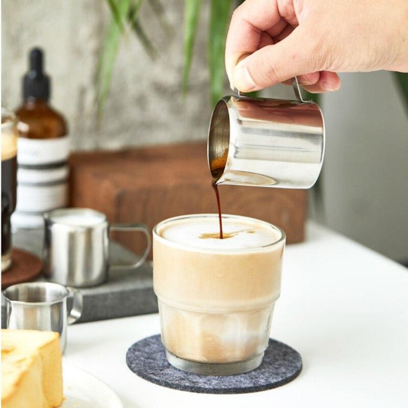 Ev ve Bahçe'ten Süt Sürahileri'de Paslanmaz çelik Frothing kahve sürahi çekme çiçek fincan Cappuccino süt tenceresi espresso bardakları Latte sanat süt köpürtücü mutfak gereçleri title=